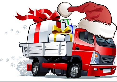 cartoon-christmas-truck-vector-.......